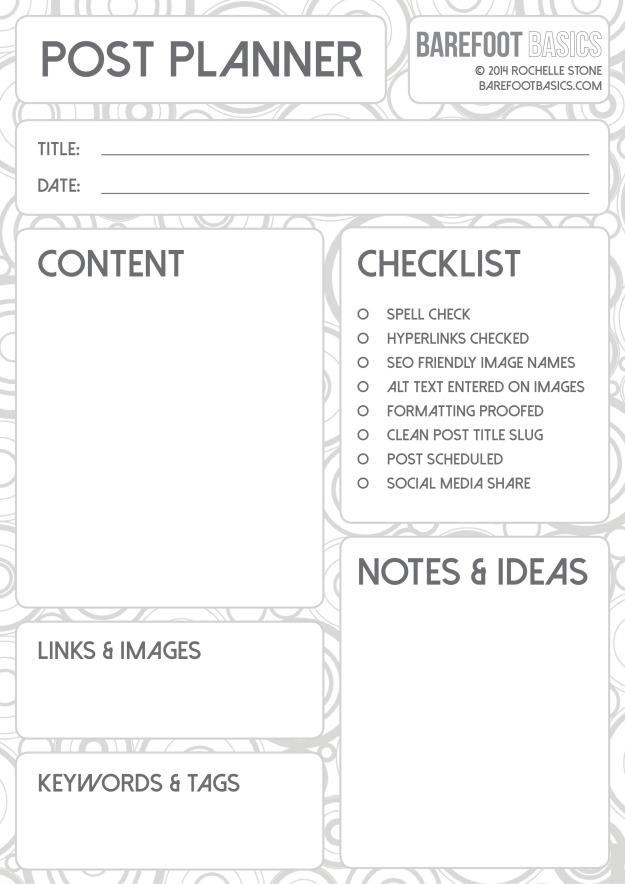 Barefoot Basics Individual Post Planner